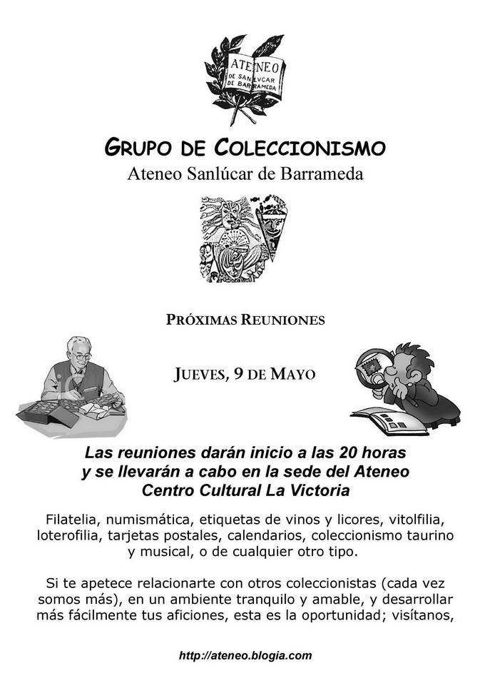 <b>Grupo de Coleccionismo Ateneo Sanlúcar de Barrameda  -  Actividades previstas para el actual mes de Mayo</b>