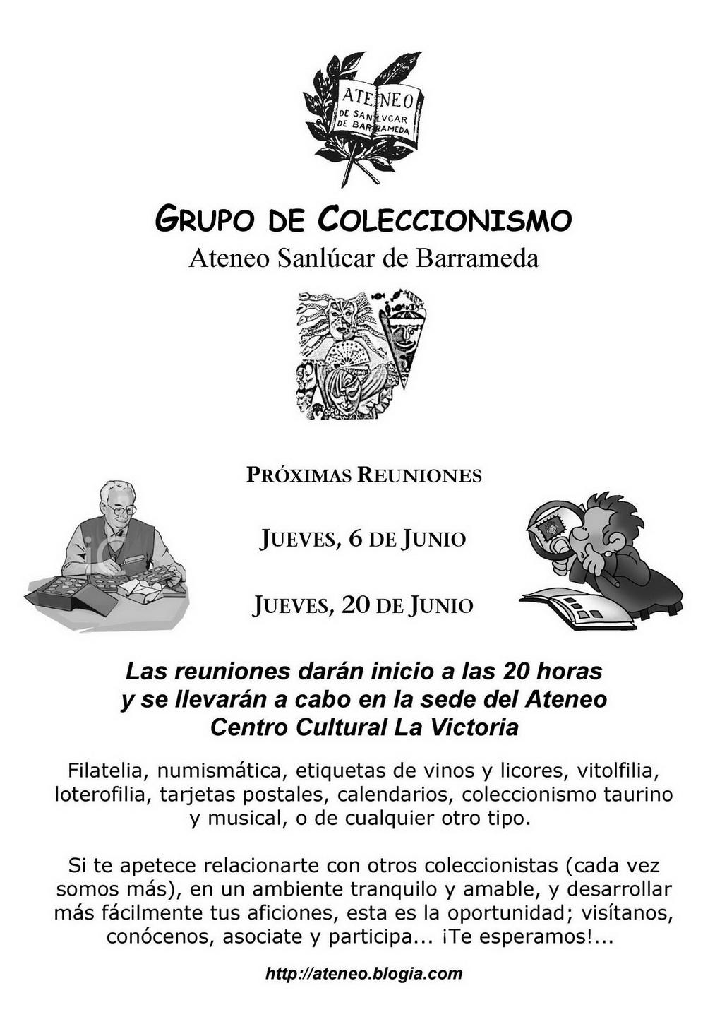 <b>Grupo de Coleccionismo Ateneo Sanlúcar de Barrameda  -  Actividades previstas para el actual mes de Junio</b>