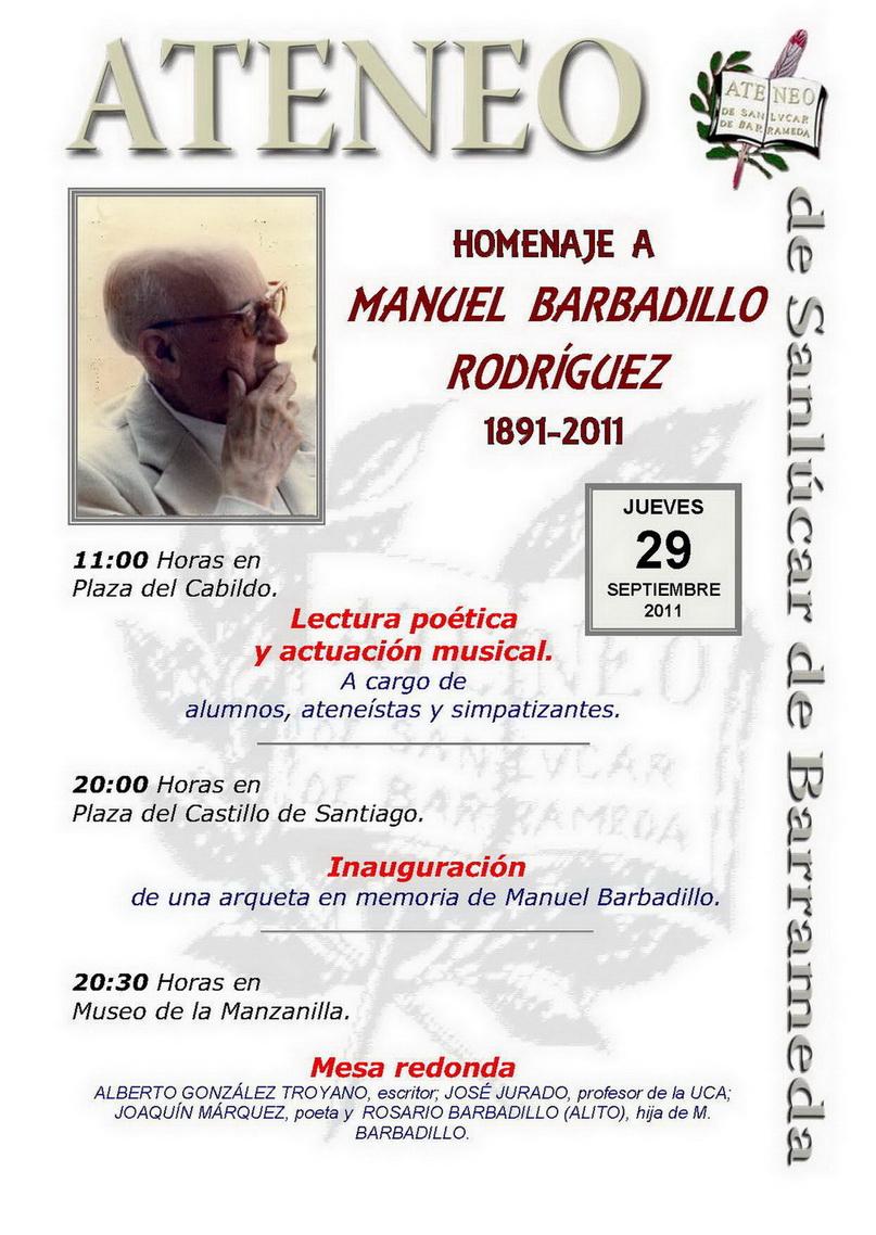 <b>Homenaje 120 aniversario Manuel Barbadillo: Fundador del Ateneo de Sanlúcar de Barrameda.</b>