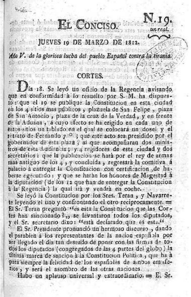<b>Hace 200 años. Diario de las Cortes de Cádiz.</b>