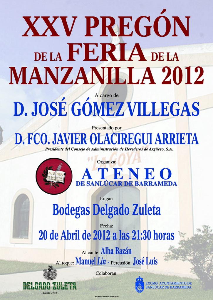 <b>Cartel del Pregón de la Feria de la Manzanilla 2012</b>