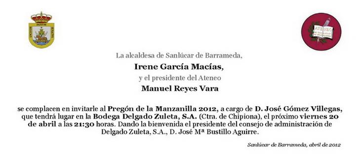 <b>Invitación al Pregón de la Feria de la Manzanilla 2012</b>