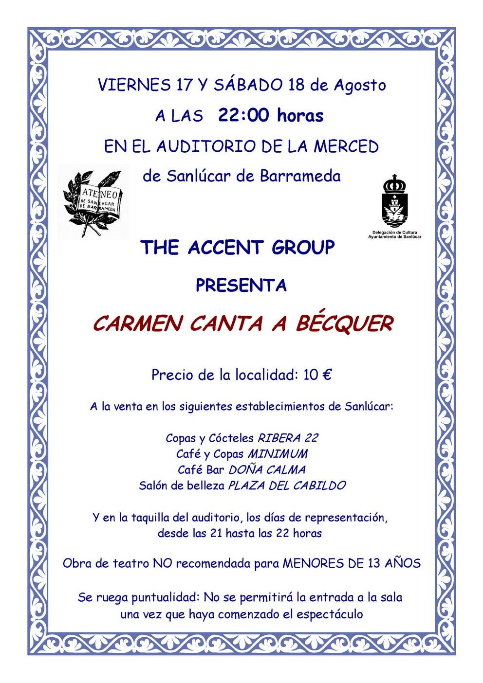 <b><i>Carmen canta a Bécquer</i> en Sanlúcar de Barrameda.</b>